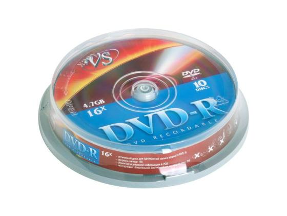 Диски DVD-R VS 16x 4.7Gb CakeBox 10шт 20410 диски cd dvd thunis dvd r dvd r 16x 25