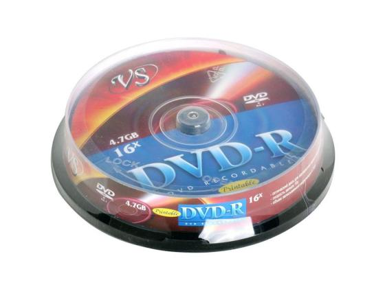 Диски DVD-R VS 16x 4.7Gb CakeBox Printable 10шт 62079 dvd r vs 4 7gb 16х 10шт cake box