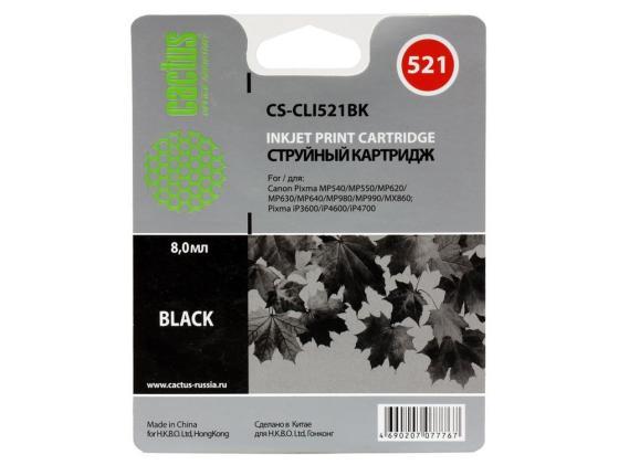 Картридж Cactus CS-CLI521BK для Canon PIXMA MP540 MP550 MP620 MP630 MP640 MP660 черный картридж совместимый для струйных принтеров cactus cs pgi29y желтый для canon pixma pro 1 36мл cs pgi29y