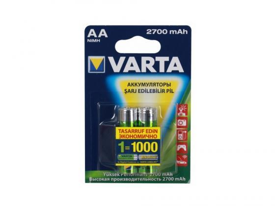 Аккумулятор 2700 mAh Varta Acc u 2 AA 2 шт аккумулятор c varta 3000mah power accu 2 штуки 56714