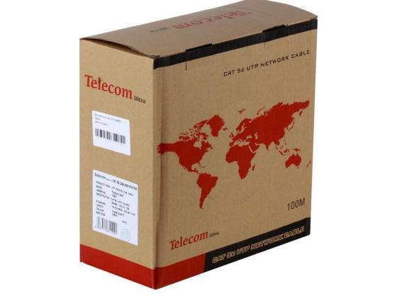 Кабель Telecom Ultra UTP TUS44148E 4 пары кат 5е 100м серый кабель telecom ultra utp 4 пары кат 5е бухта 100м p n tus44148e