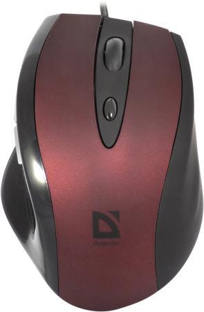 Купить Мышь проводная DEFENDER Opera 880 чёрный бордовый USB 52832