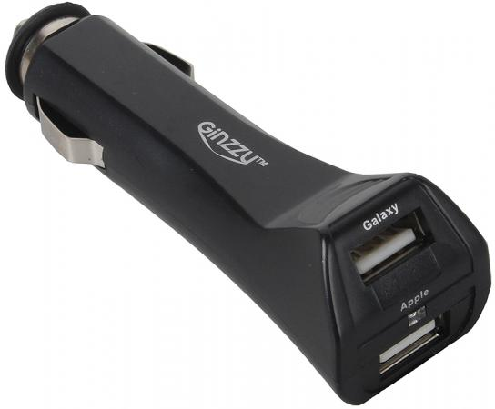 Автомобильное зарядное устройство Ginzzu GA-4212UB/S3 2.5А microUSB miniUSB 30-pin Apple черный автомобильное зарядное устройство kensington k38057eu miniusb черный