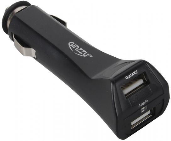 Автомобильное зарядное устройство Ginzzu GA-4212UB/S3 2.5А microUSB miniUSB 30-pin Apple черный автомобильное зарядное устройство ginzzu ga 4212ub 2xusb 2 5a черный