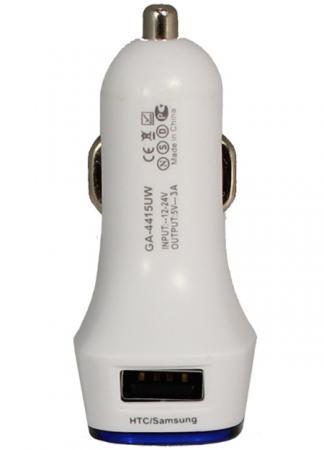 Автомобильное зарядное устройство GINZZU GA-4415UW 3А 2 х USB белый автомобильное зарядное устройство buro tj 201b 2 х usb 4 8 а черный