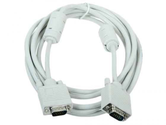 Кабель VGA 3м Gembird CC-PVGA-10 круглый белый кабель удлинитель vga 3 0м gembird vga ext 2 фильтра cc pvgax 10 e vga x l 3 05м