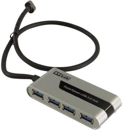 Концентратор USB 3.0 STlab U760 4 х USB 3.0 серебристый черный