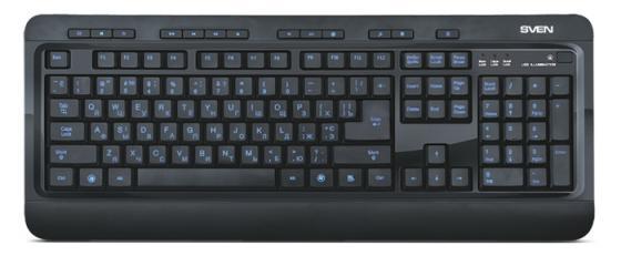 Клавиатура проводная Sven Comfort 7600 EL USB черный клавиатура проводная sven sv 0310