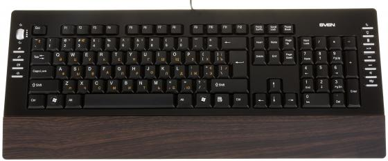 все цены на Клавиатура проводная Sven Comfort 4200 Wooden USB черный онлайн
