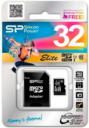 Карта памяти Micro SDHC 32Gb Class 10 Silicon Power Elite UHS-1 + 1 Adapter SP032GBSTHBU1V10-SP samsung 32gb class 6 micro sdhc memory card w adapter mb ms08d