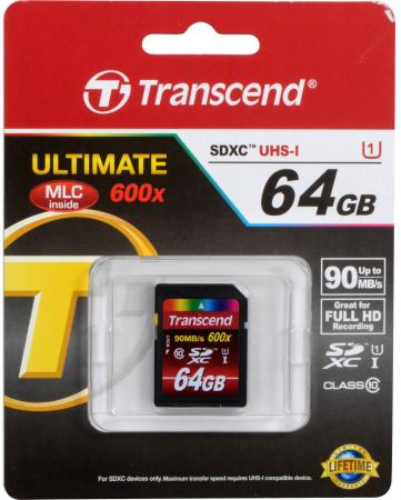 Карта памяти SDXC 64GB Class 10 Transcend UHS-I TS64GSDXC10U1 transcend jetdrive lite 330 64gb карта памяти для macbook pro retina 13