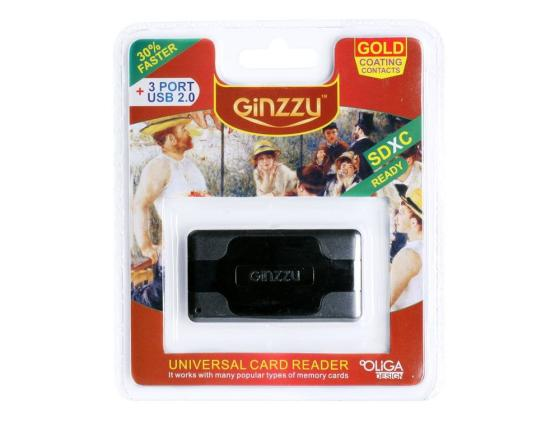 Картридер внешний Ginzzu GR-417UB SD/SDHC/SDXC/MicroSD/MS/M2 + 3xUSB Hub черный high speed usb 3 0 sd ms m2 cf xd micro sd tf card reader black silver