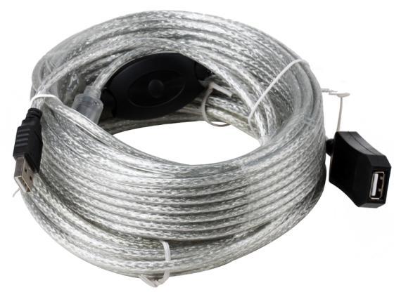Фото - Кабель удлинительный AM-AF 15м Aopen ACU823-15M активный с усилителем USB 2.0 кабель удлинительный usb 2 0 am af 1 8м konoos позолоченные контакты с ферритовыми кольцами