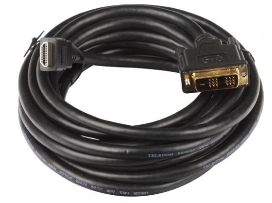 Кабель HDMI-DVI 5.0м Telecom позолоченные контакты CG480G/CG481G кабель hdmi dvi 10м vcom telecom cg481g 10m