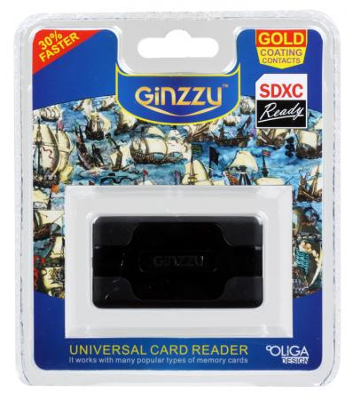 Картридер внешний Ginzzu GR-416B CF/SD/SDHC/MicroSD/MS/xD/M2 черный