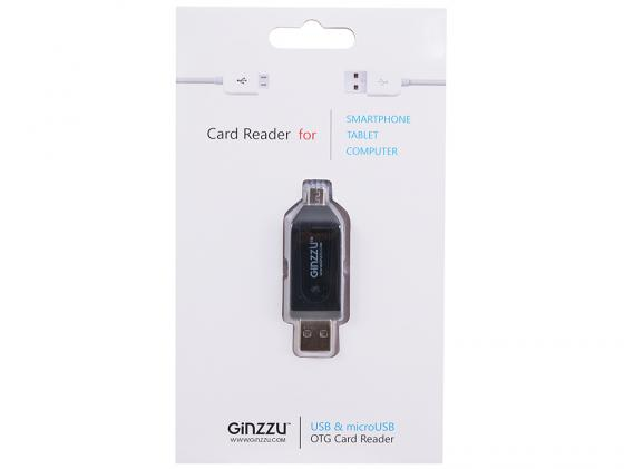 Картридер внешний Ginzzu GR-583UB SD/SDHC/MicroSD/MicroSDHC  + microUSB OTG Host черный картридер внешний transcend ts rdp8k cf mmc sd sdhc microsdhc msduo msmicro черный