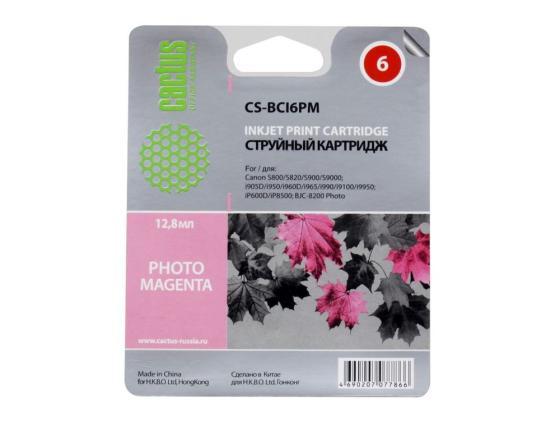 Картридж Cactus CS-BCI6PM для Canon S800 S820 S900 S9000 i905D i950S i960x i965 i990 i9100 i9950 iP600D iP8500 BJC-8200 Photo пурпурный картридж cactus cs bci24bk для canon s200 s200x s300 s330 s330 photo i250 i320 i350 i450 i455 i470d i475d mp110 mp130 mp360 mp370 mp3