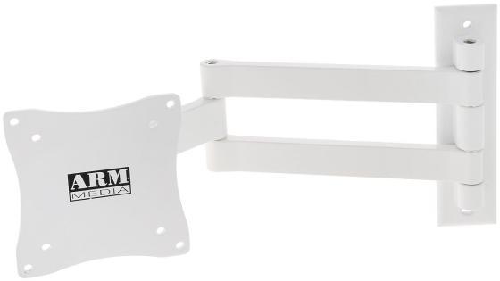 Кронштейн ARM Media LCD-7101 белый для LCD/LED ТВ 10-26 настенный 4 степени свободы VESA 75/100 max 15 кг кронштейн mart 101s черный для 10 26 настенный от стены 18мм vesa 100x100 до 25кг