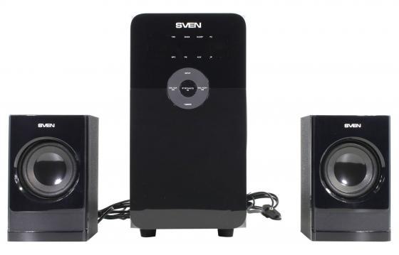 цена на Колонки Sven MS-2000 2х11 + 18 Вт USB SD ПДУ FM-тюнер черный