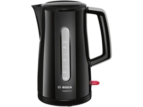 Чайник Bosch TWK 3A013 2400Вт 1.7л пластик черный bosch чайник bosch twk6801 серебристый 1 7л 2400вт нержавеющая сталь