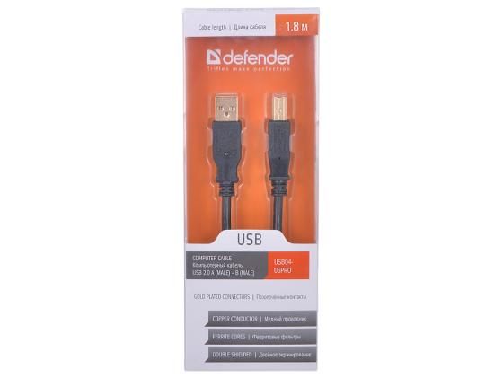 Кабель USB 2.0 AM-BM 1.8м DEFENDER ферритовые кольца позололоченные контакты 87430 кабель usb 2 0 am bm 1 8м defender с ферритовыми кольцами позол конт