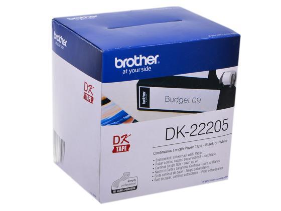 Бумажная клеящаяся лента 62мм Brother DK22205 наклейки brother dk44605 62мм клеящаяся желтый