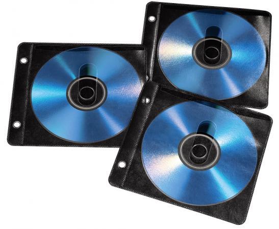 Конверты Hama для 2 CD/DVD полипропилен 50шт с перфорацией портмоне кольцами черный/прозрачный H-84102