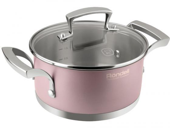 купить Кастрюля Rondell Rosso RDS-372 2.8л 20см стеклянная крышка нержавеющая сталь розовый дешево