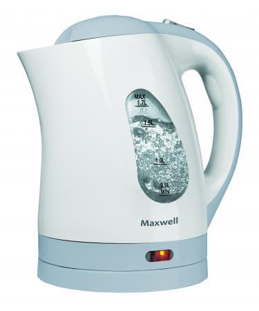Чайник Maxwell MW-1014(B) 2200 Вт 1.7 л пластик белый голубой фен maxwell mw 2015m gd 2200 белый золотистый