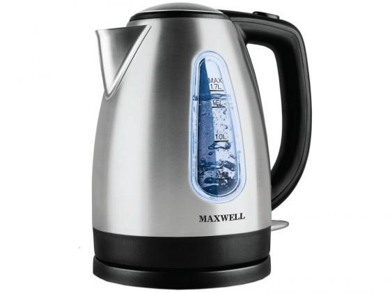 где купить  Чайник Maxwell MW-1019(BK) 2200 Вт 1.7 л металл серебристый  по лучшей цене