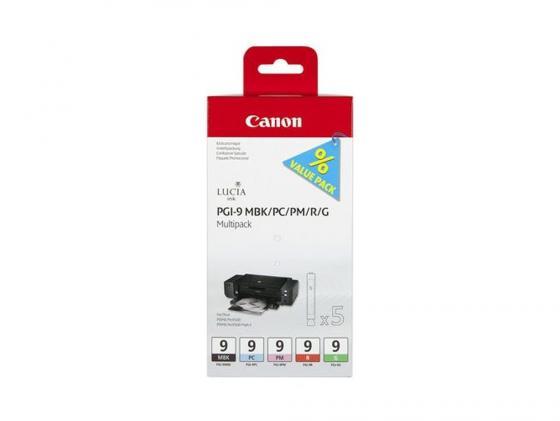 Картридж Canon PGI-9 MBK/PC/PM/R/G для PIXMA MX7600 Pro9500 pro9500 матовый чёрный красный зелёный фотокартридж голубой и пурпурный картридж canon pgi 9r красный red 1500 стр для canon pixma pro9500 pro9500 mark ii ix7000 mx7600