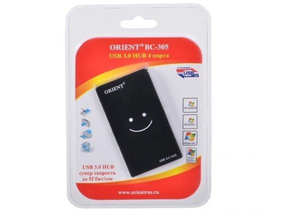 Концентратор USB 3.0 ORIENT BC-305 4 х USB 3.0 черный цены