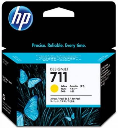 Картридж HP №711 CZ136A для Designjet T520 T120 желтый 29мл 3шт free shipping q5669 60664 for hp designjet t610 t1100 z2100 z3100 z3200 vacuum fan aerosol fan assembly original used