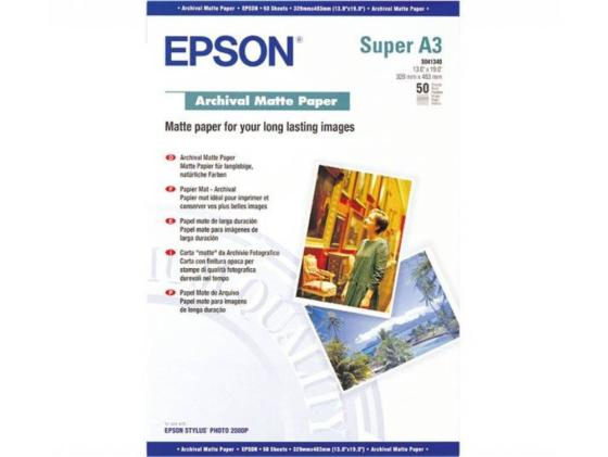 Фотобумага Epson A3 192г/кв.м матовая 50л C13S041340 фотобумага epson s041287