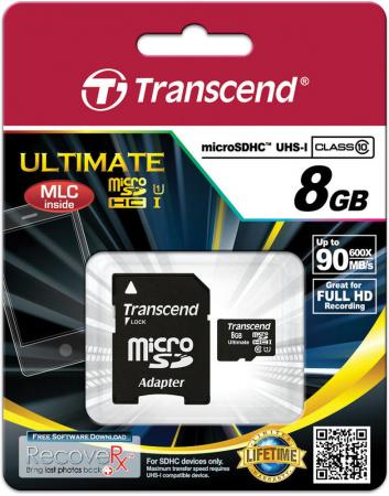 Карта памяти Micro SDHC 8GB Class 10 Transcend UHS-I 600x TS8GUSDHC10U1 карта памяти transcend 8gb microsdhc card class 10 sd 2 0 no adapter ts8gusdc10 ts8gusdc10