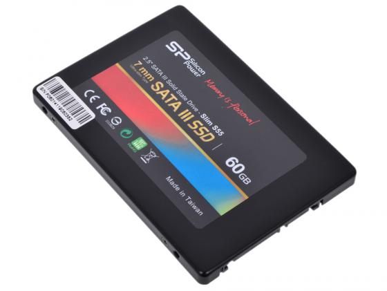 Твердотельный накопитель SSD 2.5 60 Gb Silicon Power Slim S55 Read 550Mb/s Write 530Mb/s SATA III SP060GBSS3S55S25 ssd твердотельный накопитель 2 5 240 gb silicon power velox v70 read 557mb s write 507mb s sata iii sp240gbss3v70s25