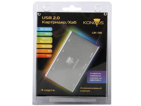Картридер внешний Konoos UK-38 SD/SDHC/MMC/Memory Stick MS/microSD/TF/M2 картридер внешний transcend ts rdp8k cf mmc sd sdhc microsdhc msduo msmicro черный