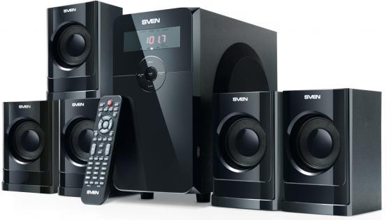 Колонки Sven HT-200 5x12 + 20 Вт черный ПДУ FM часы