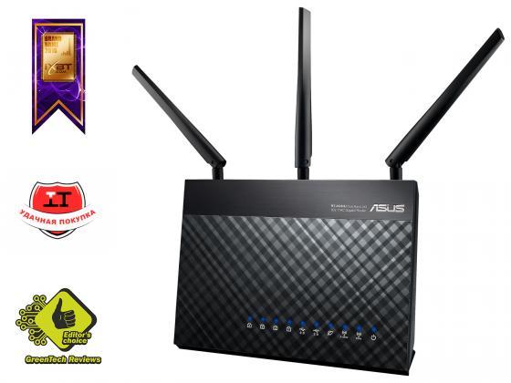 Беспроводной маршрутизатор ASUS RT-AC68U 802.11acbgn 1900Mbps 5 ГГц 2.4 ГГц 4xLAN USB3.0 черный маршрутизатор asus rt n56u 802 11n 300mbps 5 ггц 4xlan usb usb черный