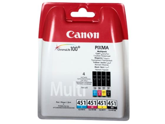 цена на Картридж Canon CLI-451 BK/C/M/Y для MG6340 MG5440 IP7240 Голубой/Пурпурный/Жёлтый/Чёрный