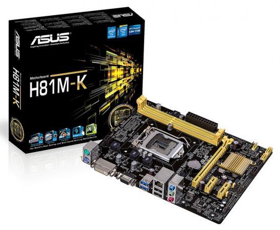 Материнская плата ASUS H81M-K S1150 Intel H81 2xDDR3 1xPCI-E 16x 2xPCI-E x1 2xSATAII 2xSATAIII USB3.0 D-Sub DVI 7.1 Sound Glan mATX Retail материнская плата asus h81m2 c si h81 socket 1150 2xddr3 2xsata3 1xpci e16x 4xusb3 0 2xdvi glan matx oem