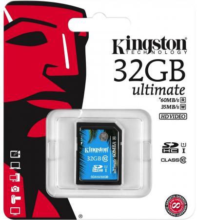 Карта памяти SDHC 32GB Class 10 Kingston SDA10/32GB UHS-I Read 60Mb/s Write 35Mb/s карта памяти kingston sdcit 32gb sdcit 32gb