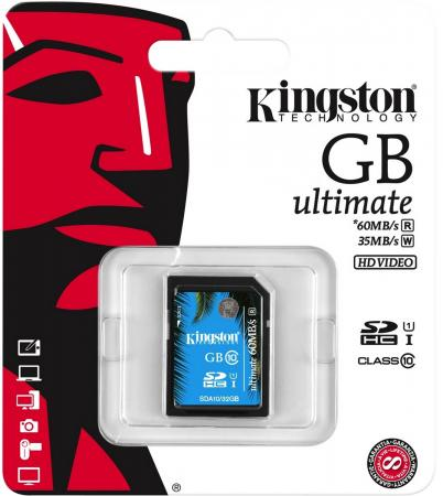 Карта памяти SDXC 64GB Class 10 Kingston SDA10/64GB UHS-I Read 60Mb/s Write 35Mb/s kingston sda10 64gb sdhc 64гб class 10