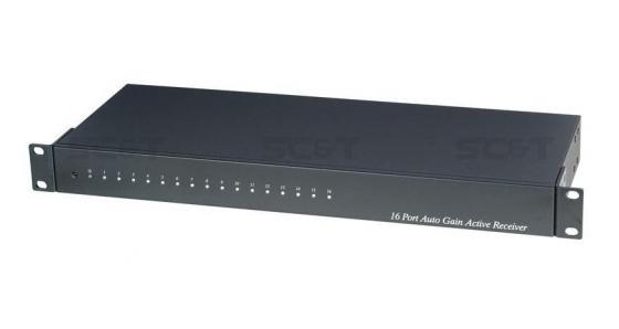 Приемник-разветвитель видеосигнала SC&T TPA016AH активный 16-канальный с автоматической регулировкой усиления для установки в стойку 19 до 1500 м аудио разветвитель dbx sc 234xl pk