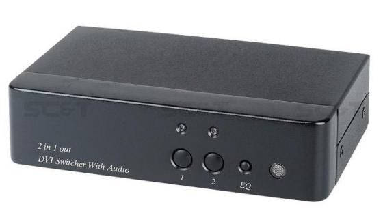 Коммутатор SC&T DS02A для DVI- и стерео аудиосигналов 2 входа DVI-I TRS 1 выход DVI-I TRS