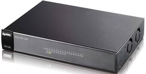 Коммутатор Zyxel ES1100-16P неуправляемый 16 портов Fast Ethernet 8xPoE