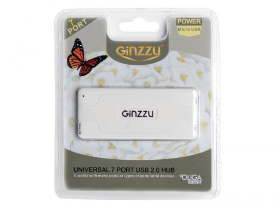цена на Концентратор USB Ginzzu GR-415UW 7 портов белый