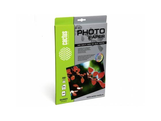 Бумага Cactus CS-GA420020 A4 200г/кв.м глянцевая 20л бумага cactus cs ga4200100 a4 200г кв м глянцевая 100л
