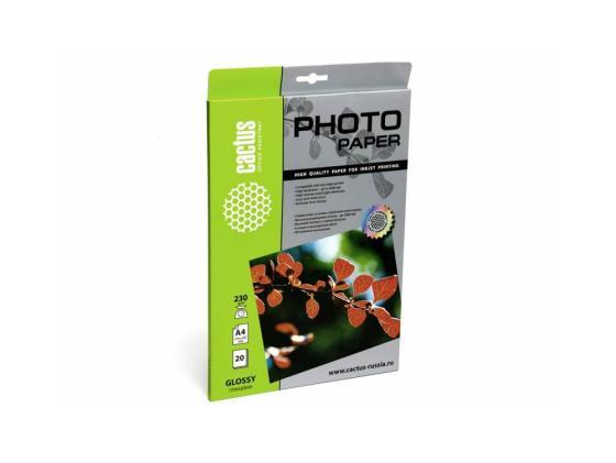 Бумага Cactus CS-GA423020 A4 230г/кв.м глянцевая 20л бумага hi black a200102u a4 230г м2 глянцевая односторонняя 100л h230 a4 100