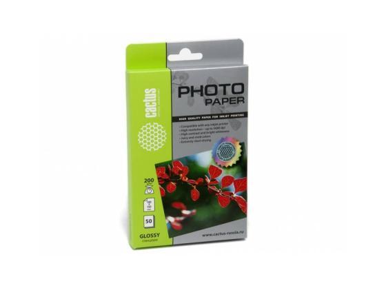 Фото - Бумага Cactus CS-GA620050 10x15см 200г/кв.м глянцевая 50л бумага cactus cs ma6190100 10x15см 190г кв м матовая 100л